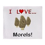 I Love Morels Throw Blanket