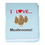 I Love Mushrooms baby blanket