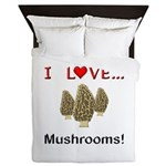 I Love Mushrooms Queen Duvet