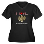 I Love Mushrooms Women's Plus Size V-Neck Dark T-S