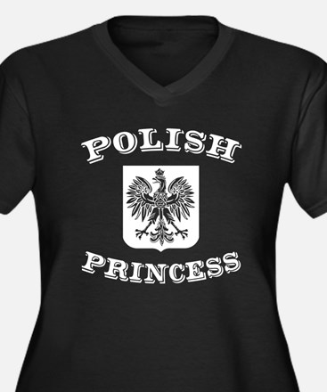 Polish Princess Women's Plus Size V-Neck Dark T-Sh