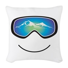 Happy Skier/Boarder Woven Throw Pillow