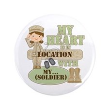 """Heart With Soldier 3.5"""" Button"""