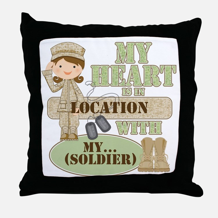 Heart With Soldier Throw Pillow