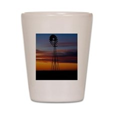 Kansas Windmill at Sunset Shot Glass