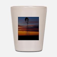 Kansas Windmill at Sunset Shot Glass