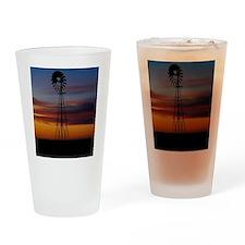 Kansas Windmill at Sunset Drinking Glass