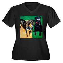 Best Friends Women's Plus Size V-Neck Dark T-Shirt