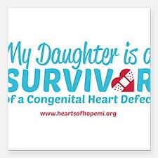 "CHD Survivor - Daughter Square Car Magnet 3"" x 3"""