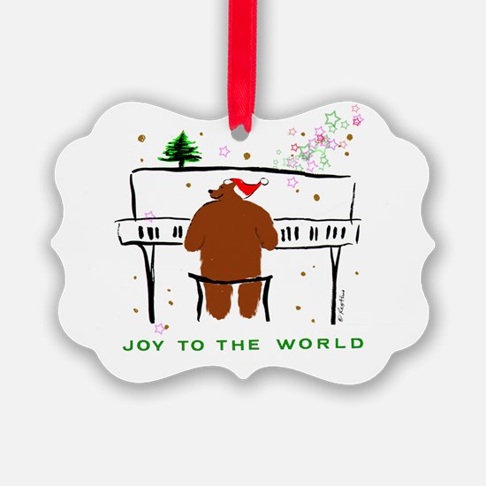 Santa Bear @ Piano Ornament