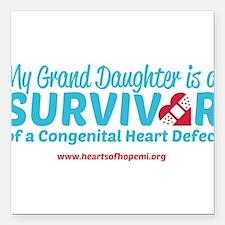 "CHD Survivor - Grand Daughter Square Car Magnet 3"""