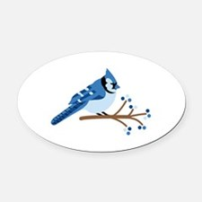 Christmas Blue Jays Oval Car Magnet