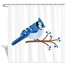 Christmas Blue Jays Shower Curtain
