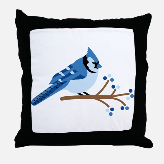 Christmas Blue Jays Throw Pillow