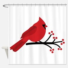 Christmas Cardinals Shower Curtain