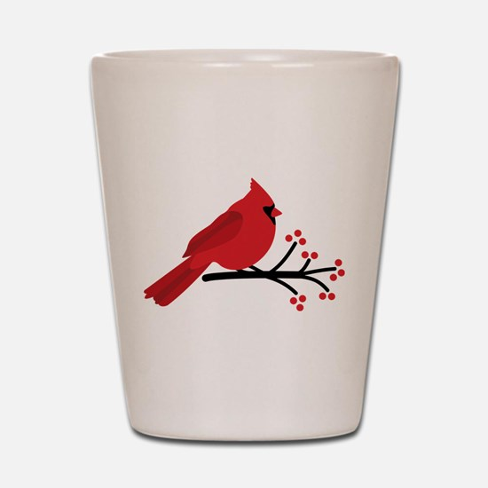 Christmas Cardinals Shot Glass