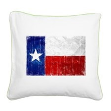 Texas Flag Distressed Square Canvas Pillow