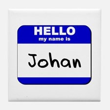 hello my name is johan  Tile Coaster