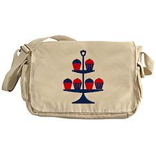 Blue Cupcake Stand Messenger Bag