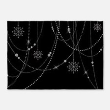 SILVER GLITTER SNOWFLAKES 5'x7'Area Rug