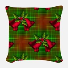 Christmas Bells And Holly Woven Throw Pillow