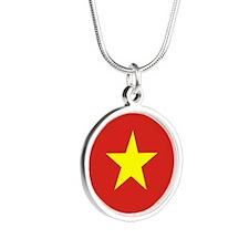 Vietnam Flag Silver Round Necklace