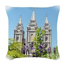 Temple in Spring Woven Throw Pillow