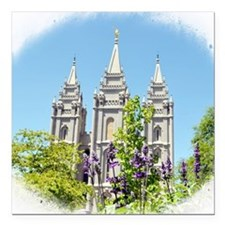 """Temple in Spring Square Car Magnet 3"""" x 3"""""""
