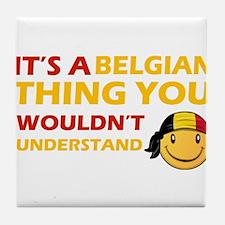 Belgian smiley designs Tile Coaster