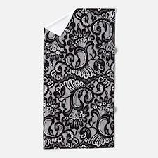 Black Lace Beach Towel