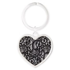 Black Lace Heart Keychain