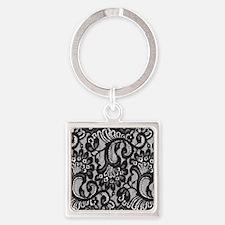 Black Lace Square Keychain