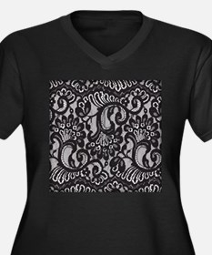Black Lace Women's Plus Size V-Neck Dark T-Shirt