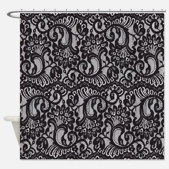 Black Lace Shower Curtain
