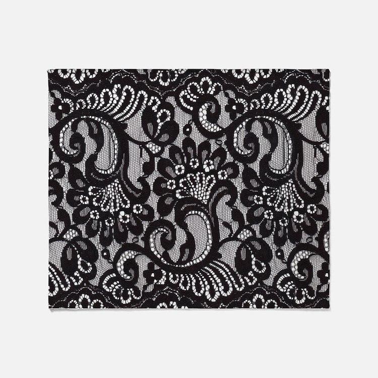 Black Lace Throw Blanket