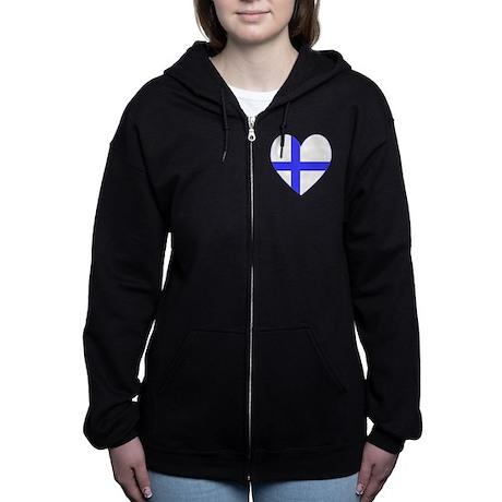 Finnish Flag Heart Valentine Zip Hoodie