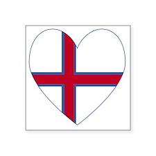 "Faroe Islands Flag Heart Va Square Sticker 3"" x 3"""
