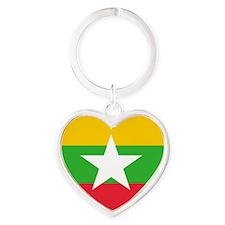 Burmese Flag Heart Valentine Heart Keychain