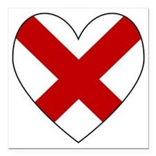 "Alabama Flag Heart Valen Square Car Magnet 3"" x 3"""