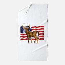 American White Tail Deer Buck Beach Towel