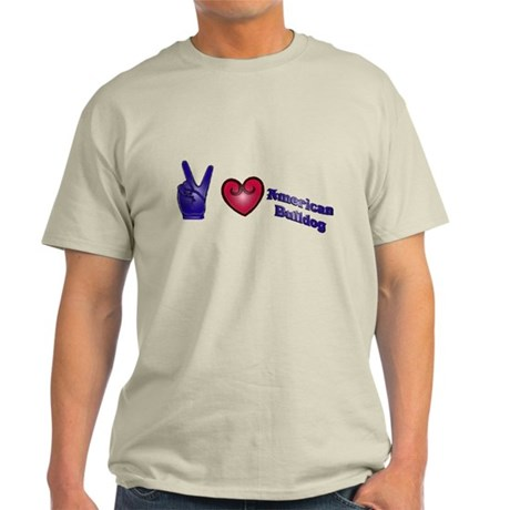 Peace Love American Bulldog Light T-Shirt