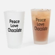 Peace,Love,Chocolate Drinking Glass