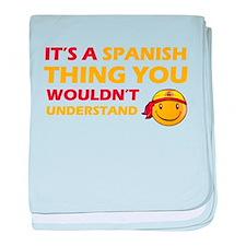 Spanish smiley designs baby blanket