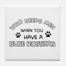 Blue Russian cat design Tile Coaster