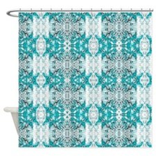 allover design 01 turquoise Shower Curtain