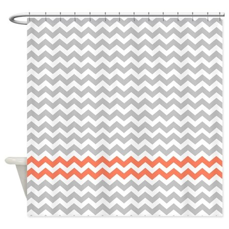 Gray And Coral 2 Chevrons Shower Curtain By Retroculture