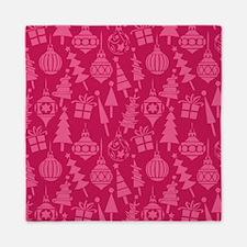 Pink Retro Christmas Pattern Queen Duvet