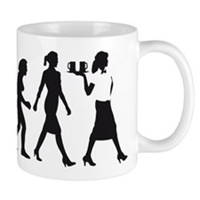 evolution of woman waitress Mugs