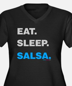 Eat Sleep Salsa Women's Plus Size V-Neck Dark T-Sh