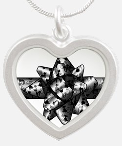 Cat Bow Silver Heart Necklace